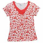 Classic Elements Petite Womens Embroidered Red White Floral Blouse Top Shirt SP