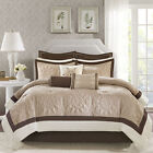 Deluxe Lovely Brown Ivory Taupe Charmesue Quilted Comforter 9 pcs King Queen set image
