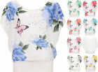 Womens Plus Butterfly Floral Chiffon Top Print Sleeveless Lined Round Neck 16-22