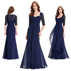 Women Half Sleeve Lace Mother Bridesmaid Long Maxi Dress Party Prom Evening Gown