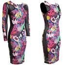 Ladies Zap Print Contrast Side Mesh Slimming Effect Womens Bodycon Dress