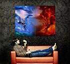 D5851 Dragon Fight Blue Wind Red Fire Art Gigantic Print POSTER