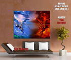 Dragon Fight Blue Wind Red Fire Art Gigantic Print POSTER