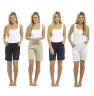Womens Ladies Linen Summer Casual Shorts UK Size 10 12 14 16 18
