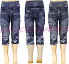 Girls Cropped Leggings | Denim Jeans Print Jegging Design Kids Clothes Ages 4-14