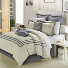 Cosmo Silver Beige -8 Piece Comforter Bed In A Bag Set