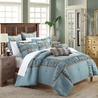 Tuscan Blue & Brown 7 Piece Comforter Bed In A Bag Set