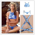 Ladies Cross Back Floral Print Bikini Set Swimwear Bathing Suit Blue Beachwear