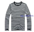 Men's Casual Shirt Military Long Sleeves Sailor's Striped T Shirt Boys Tops Size
