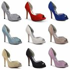 New Womens Ladies Cutaway Side Glittery Stiletto Court Shoes Wedding Party Sizes