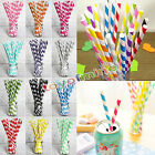 25/50/100pcs Biodegradable Paper Drinking Straws Striped Birthday Party Wedding