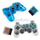 Wireless Clear White Blue Vibration Joystick Game Controller For PS2 A017