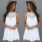 BOHO Ladies Sleeveless Party Tops Womens Loose Summer Beach Lace Mini Dress