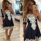 Hippie Women's Cocktail Evening Formal Party Lace Skater Pleated Bodycon Dress