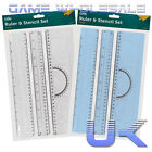 Ruler And Stencil Set - School Geometry Art Craft - Alphabet Letters Numbers NEW