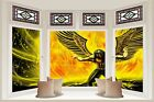 Huge 3D Bay Window Angel Of Terror View Wall Stickers Film Mural Wallpaper 142