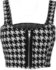 New Womens Houndstooth Check Print Short Boobtube Bralet Ladies Crop Top 8-14