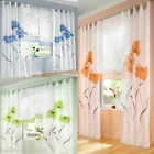 """Embroidered Window Curtain Panel 55"""" Wide 57""""-96"""" Long Voile Tab Top Polyester"""