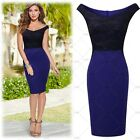 Women's Elegant Cocktail Evening Party Floral Contrast Sexy Bodycon Pencil Dress