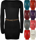 New Ladies Belt Bodycon Stretch Short Mini Dress Womens Long Sleeve Top 8-14