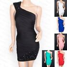 Beautiful One Shoulder Jeweled Beaded Fitted Evening Party Prom Dress