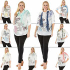 New Womens Italian Lagenlook Butterfly Flower Lace Three Piece One Size Top