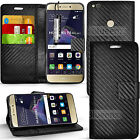 Carbon Fiber Wallet Case Cover Book + Screen Protector For Huawei Phone Models