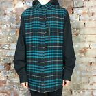 Krew Torrance New Long Sleeve Checkered Shirt Hooded Teal size M,L