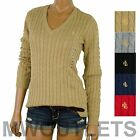 Polo Ralph Lauren WOMENS V-NECK CABLE KNIT Sweater