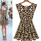 C8 US Womens Sundress Leopard Sleeveless Sexy Summer Chiffon Party Mini Dress