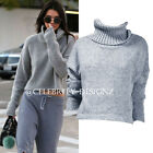 kn138 Celebrity Fashion Lookbook Turtle Neck Grey Chunky Knitted Crop Sweater