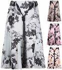 Womens Plus Size Floral Print Ladies Elasticated Flared Tie Belt Long Midi Skirt