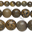 Lot of 50 Round Natural Brown Landscape Stone Genuine Gemstone Beads Small - Big