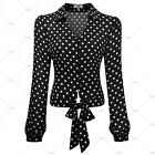 Women's Vintage Evening Party Causal Wear Pola Dot Butterfly Knot Blouses Tops