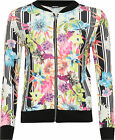 Womens Floral Stripe Bomber Jacket Ladies Print Long Sleeze Zip Stretch 8-14