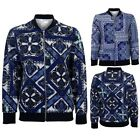 Ladies Vibrant Paisley Print Baseball Style Zip Up Hoodie Thin Bomber Jacket