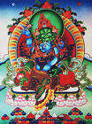 "32"" BLESSED SILK BROCADED WOOD SCROLL TIBETAN THANGKA! GREEN JAMBHALA & CONSORT"