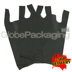 "500 x BLACK PLASTIC VEST CARRIER BAGS 11x17x21"" 18Mu *24HR DELIVERY*"