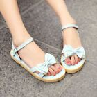 Womens Girl Open Toe Sandals Sweet Bowknot Flat Buckle Lolita Ankle Strap Shoes