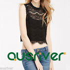 Fashion Women's Sleeveless Lace T-shirt Round Neck Sexy Crop Top Brand New