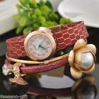 Gift Womens Elegant Flower Pendant Faux Leather Quartz Bracelet Wristwatch