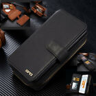 Genuine Leather Removable Magnetic Detachable Wallet Card Case Cover For Phones