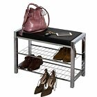 3-Tier Chromed Storage Shoe Rack/Bench With White Or Black Seat Cushion-SR17