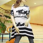 WHITE/BLACK HORSE CHIFFON TIERED SHORT SLEEVES TUNIC TOP SHIRT #3089 SIZE M L
