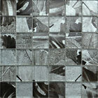 Glass Mosaic Tile. Black Grey & Silver Leaf Design. Silver Thread Effect 30x30cm