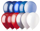 """12 - 12"""" Solid Latex Balloons Patriotic Inspired Color Palette Red White & Blue"""