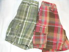 Old Navy Toddler Boys Adjustable Waist Plaid Cargo Shorts 2T X 2 NWT