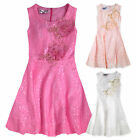 Girls Sleeveless Lace Overlay Party Dress New Kids Bridesmaid Dresses 3-12 Years