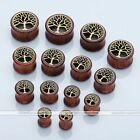 Pair Sono Wood Brass Tree of Life Gauges Ear Tunnels Flesh Plugs Stretching Kit