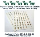 Ivy Self Adhesive Sticky Label Stickers Labels 10mm Size - 140 Gold 0-9 Numbers